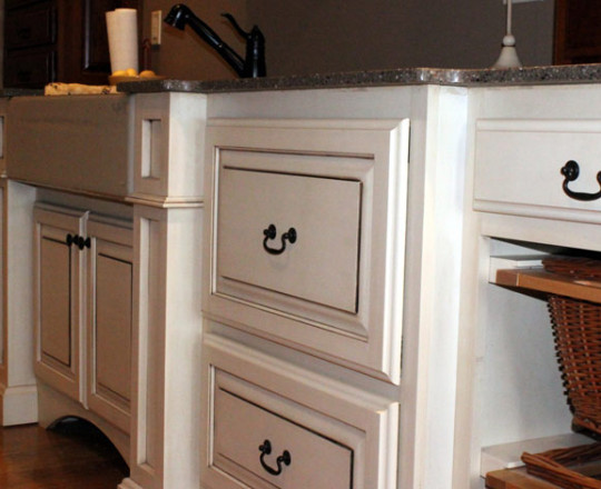 Latte Glaze - Lower Cabinets | Cherry - Mahogany Stain - Upper Cabinets