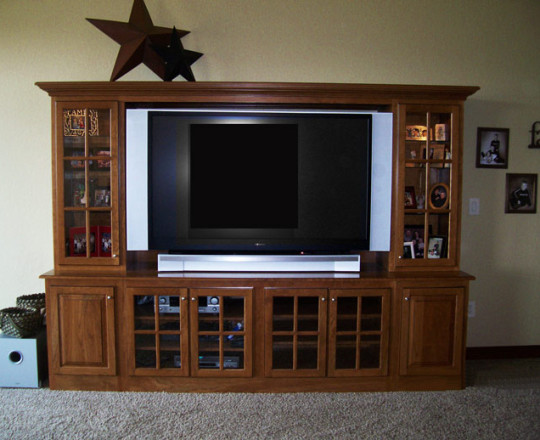 Cinnamon Stain w/Custom Glaze | Entertainment Center